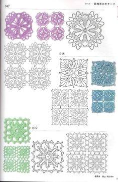 View album on Yandex. Grannies Crochet, Crochet Dollies, Crochet Quilt, Crochet Blocks, Crochet Cross, Irish Crochet, Crochet Flowers, Motifs Granny Square, Granny Square Crochet Pattern