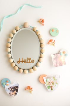 flax & twine: diy locker decorations beaded mirror + mini cork boards