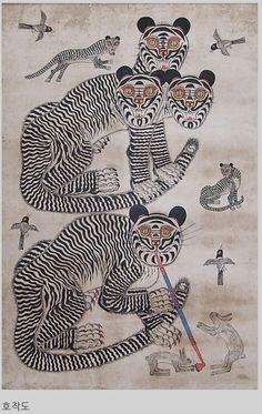 Graphic Illustration, Illustrations, Tiger Rug, Tibetan Art, Korean Art, Japan Art, Sacred Art, Traditional Art, Cat Art