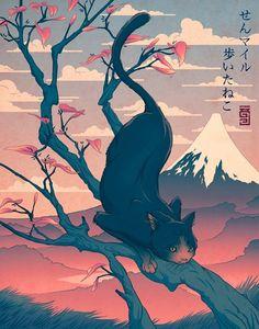 """It says 'sen mairu aruita neko' or in English, """"The Cat Who Walked a Thousand Miles"""""""