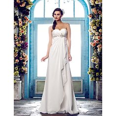 Lanting A-line Petite / Plus Sizes Wedding Dress - Ivory Sweep/Brush Train Sweetheart Chiffon – USD $ 109.99