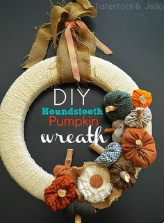 Turn scraps of houndstooth material into a festive pumpkin wreath. The little pumpkins are delightful. This is a wreath you can leave up all Fall. MichaelsMakers Tatertots and Jello