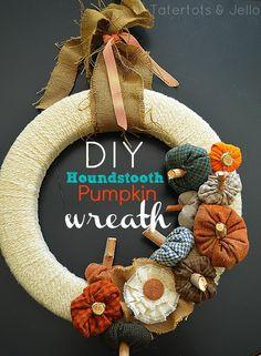 Make a Fall Houndstooth Pumpkin Wreath!