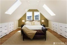 7 Incredible Useful Ideas: Clever Attic Storage attic apartment entrance.Old Attic Master Suite. Attic Master Bedroom, Attic Bedroom Designs, Attic Design, Upstairs Bedroom, Bedroom Loft, Attic Bathroom, Kids Bedroom, Small Attic Bedrooms, A Frame Bedroom