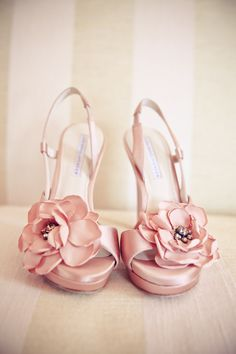 Pretty pink wedding shoes with flowers