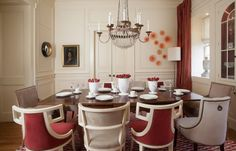 White taupe and cranberry dining room