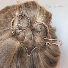Copper Hair Barrette Hair Pin Heart Hair Slide Hair Stick