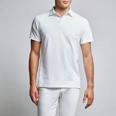 57084e20 Yacht crew uniform - CĀLM Jasper Jersey Polo, White
