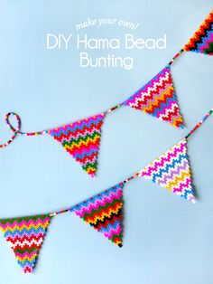 DIY Hama Bead Bunting - Paper and Pin. Perler Bead Designs, Diy Perler Bead Crafts, Hama Beads Design, Diy Perler Beads, Hama Beads Patterns, Beading Patterns, Diy Crafts, Homemade Crafts, Modele Pixel Art