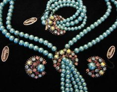 bsk jewelry | SALE - Vintage FLORENZA Jewelry Set - Florenza Rhinestone Necklace ...