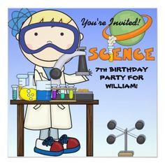 Science Birthday Party Invitations Boy Science Birthday Party Invitation