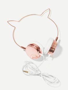 Cat Ear Shaped On-Ear Headphone -SheIn(Sheinside) Fejhallgató e33bd3291c