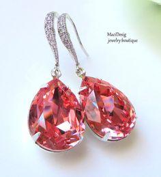 Rose Peach Swarovski, Coral Earrings, Bridal Jewelry, Bridesmaids Earrings, Bridesmaids Wedding Jewelry, Free US Shipping