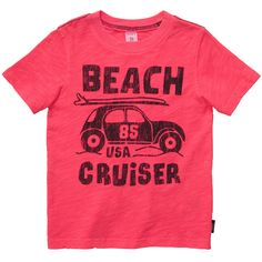 He's ready to go for a spin in this cute 'Beach Cruiser' slogan tee with a car carrying surfboard graphic.