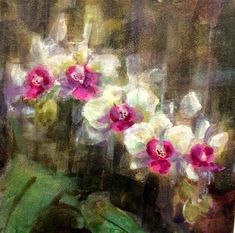 "Daily Paintworks - ""Orchid Light -  Waxing Watercolor"" - Original Fine Art for Sale - © Julie Ford Oliver"
