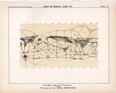 1910 mars planet map original antique by antiqueprintstore on Etsy, $20.00