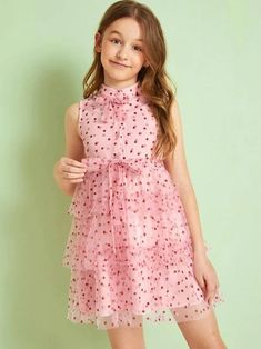 To find out about the Girls Buttoned Bow Front Glitter Dot Mesh Overlay Layered Dress at SHEIN IN, part of our latestGirls Dresses ready to shop online today! Kids Summer Dresses, Dresses Kids Girl, Cute Dresses, Girls Fashion Clothes, Tween Fashion, Fashion Outfits, Cute Little Girls Outfits, Kids Outfits, Cord Pinafore Dress