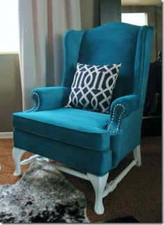 """I would love to """"reupholster"""" a chair using paint, especially this color! If anyone sees a chair on the curb that looks like this, you know who to call!"""