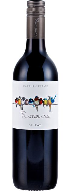 Beautiful wine label design. Love the vibrant bird illustrations, along with the playful, clean typography. Would've been cute if they made the line sag slightly under the weight of the birds. Warburn Rumours Shiraz