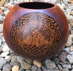 Celtic Tree of Life pyrography wood burned Gourd bowl by JRAGourdArt on Etsy https://www.etsy.com/listing/255993819/celtic-tree-of-life-pyrography-wood