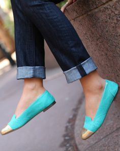 gold cap toe turquoise snakeskin loafers #casualfriday