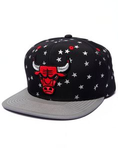 The DrJays.com Exclusive custom Chicago Bulls Retro All Over Stars Edition with reflective 3M stars & brim by Mitchell & Ness!