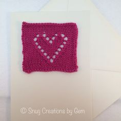 Handmade card, hand knit pink heart card, romantic greeting card, wedding card, unique card, anniversary card, engagement card, I love you