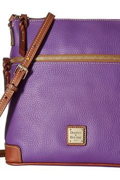 Dooney & Bourke Pebble Crossbody (Violet/Tan Trim) Cross Body Handbags - Dooney & Bourke, Pebble Crossbody, R264-548, Bags and Luggage Handbag Cross Body, Cross Body, Handbag, Bags and Luggage, Gift, - Street Fashion And Style Ideas