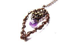 amethyst drop necklace  unique wire wrapped copper by KicaBijoux, $42.50