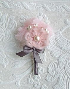 Handsewn organza wool flowers, decorated with pearls and pink glass beads. Handle wrapped in charcoal grey silk ribbon and cute bow.