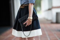 Full skirt, chambray and leopard
