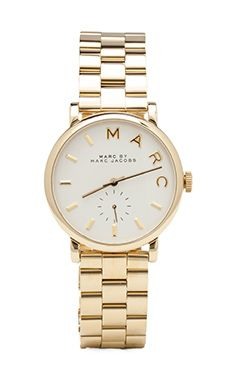 Revolve Style-MARC by Marc Jacobs MBM3243 Baker Polished Gold Stainless Steel White Dial Watch