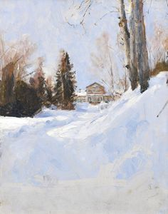 Valentin Alexandrovich Serov 1865-1911 WINTER IN ABRAMTSEVO signed with a monogram, inscribed Abramtsevo in Cyrillic and dated 1886 l.r. oil on panel 39 by 31cm | Sotheby's