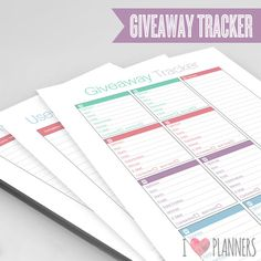 Blog or Site Giveaway Tracker   Instant Download by ILovePlanners