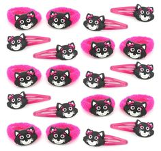 Zest 20 Cute Cat Hair Accessories 10 Ponios & 10 Hair Clips Hot Pink & Black | eBay