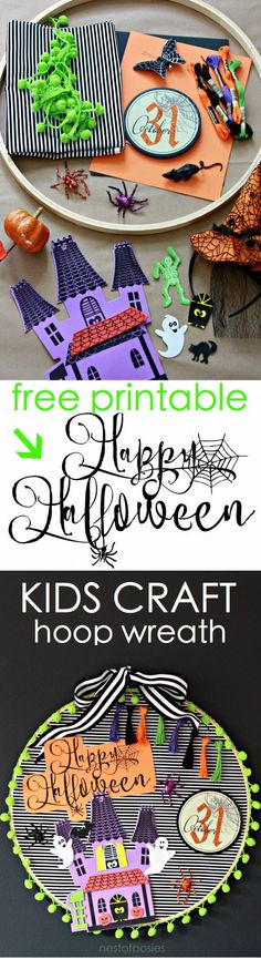Halloween Hoop Art Wreath.  A fun kids Halloween craft to make.  Including free printable download.