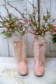 Shabby chic pink cowboy boots ruffles ribbon