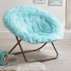 Himalayan Faux-Fur Hang-A-Round Chair, Plume - Furniture - Lounge Chairs Blue Teen Girl Bedroom, Teen Girl Bedrooms, Girl Room, Bedroom Chair, Bedroom Decor, Bedroom Furniture, Chairs For Bedroom Teen, Gold Furniture, Furniture Design