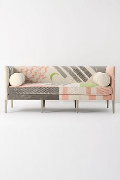 Gorgeous pink and grey sofa from Anthropologie, via @Janice Treadwell
