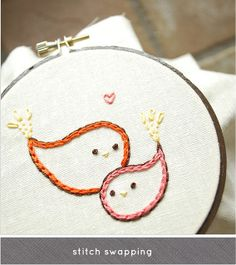 cute bird embroidery. I know somebody who does a mean hand stitch...