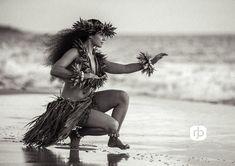 Kahiko hula dancer by the sea