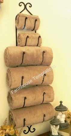 Tuscan Bronze Towel Rack Iron Wine Bottle Holder Decor Wall Bath Bathroom New | eBay