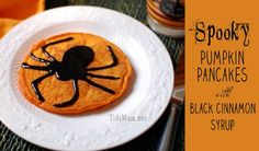 Spooky Pumpkin Pancakes with Black Cinnamon Syrup at TidyMom.net