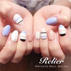 "chihi on Instagram: ""⁑ ────配色はとっても重要。奥が深い 。 ・ ・ ・ デザインジェルコース…7,000yen ・ #nail #nails #gelnails #naildesign #nailstagram #summernails #stripes #lavender #ネイル…"""