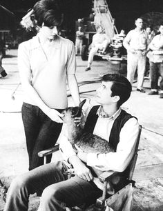 Audrey Hepburn, Anthony Perkins and Ip on set; Green Mansions, photographed by Bob Willoughby, 1958.