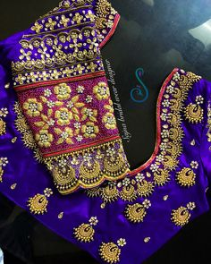 Beautiful bridal designer blouse with chaandbali design hand embroidery bead work. To get your outfit customized visit at Chenna 28 December 2018 Wedding Saree Blouse Designs, Pattu Saree Blouse Designs, Half Saree Designs, Fancy Blouse Designs, Blouse Neck Designs, Wedding Blouses, Wedding Sarees, Sleeve Designs, Maggam Work Designs