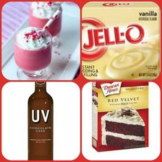Red Velvet Cake Pudding Shots 1 small Pkg. vanilla instant pudding ¾ Cup Milk 3/4 Cup UV Chocolate Cake Vodka 4 TBS Red velvet cake mix 8oz tub Cool Whip  Directions 1. Whisk together the milk, liquor, cake mix and instant pudding mix in a bowl until combined. 2. Add cool whip a little at a time with whisk. 3.Spoon the pudding mixture into shot glasses, disposable shot cups or 1 or 2 ounce cups with lids. Place in freezer for at least 2 hours