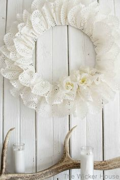 Paper heart doily wreath featured on Ella Claire