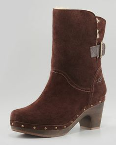 Amoret Wood-Heeled Suede Bootie, Java by UGG Australia at Neiman Marcus.