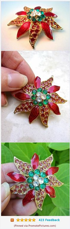 Poinsettia Flower Christmas Brooch, Gullioche Enamel, Poured Glass, Rhinestones, Vintage #brooch #poinsettia #flower #enamel #red #green #Gullioche #rhinestones #pouredglass #vintage https://www.etsy.com/RenaissanceFair/listing/546257936/poinsettia-flower-christmas-brooch?ref=listings_manager_grid  (Pinned using https://PromotePictures.com)